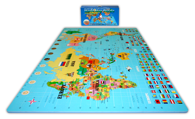 World Map-Puzzle Mat